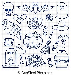 Halloween Patches Set on Squared Paper