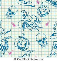 Halloween pattern, hand drawn sketch characters