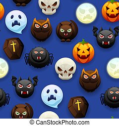 halloween, pattern., seamless, heureux