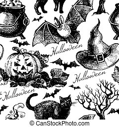 halloween, pattern., seamless, ilustración, mano, dibujado