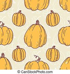 halloween, pattern., seamless, main, potirons, hipster, retro, fond, dessiné