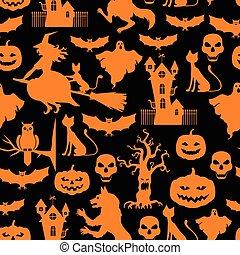 Halloween pattern seamless on black background