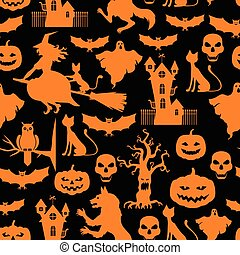 Halloween pattern seamless on black background