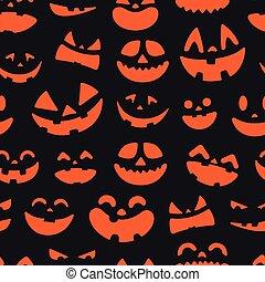halloween, pattern., seamless, vettore, fondo, facce, zucca
