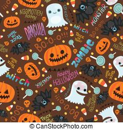 halloween, pattern., seamless, vrolijke