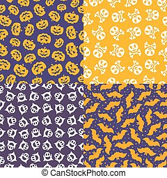 Halloween pattern set color style on different background with bat, ghost, skull, pumpkin