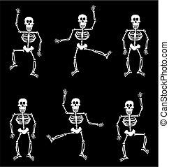halloween, pattern., skelett, bakgrund, svart