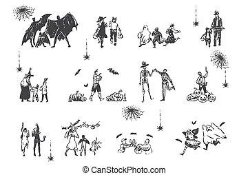 Halloween, people in fancy dress concept sketch. Hand drawn ...