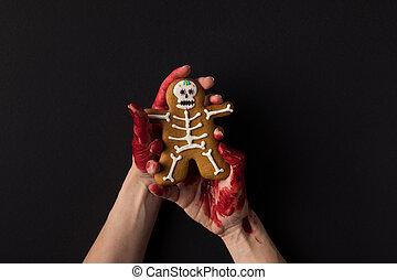 halloween, petit gâteau, tenant mains