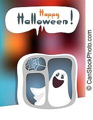 halloween phantom - Cartoon phantom on a bright background.