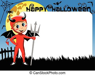 Halloween Photo picture frame border kid devil costume -...