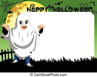 Halloween Photo picture frame border kid ghost costume -...