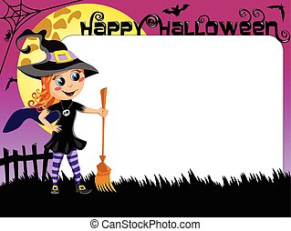 Halloween Photo picture frame border kid witch costume -...