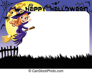 Halloween Photo picture frame border witch flying -...
