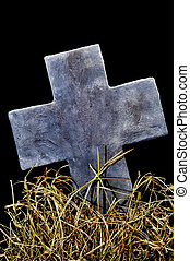 halloween, piedra, cruz