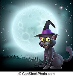 halloween, pieno, strega, luna, gatto