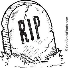 halloween, pierre tombale, croquis