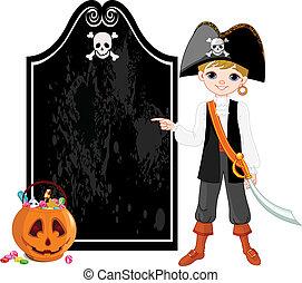 halloween, pirata, señalar