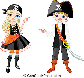 Halloween Pirate couple pointing - Two pointing kids dressed...