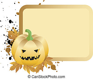 halloween placard with pumpkin