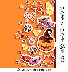 halloween, plano de fondo, con, golosinas, y, gato o' farol