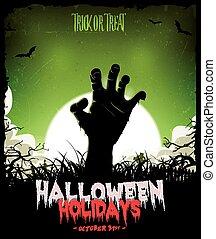 halloween, plano de fondo, con, undead, zombi, mano