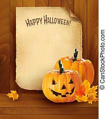 halloween, plano de fondo, con, viejo, papel, vector