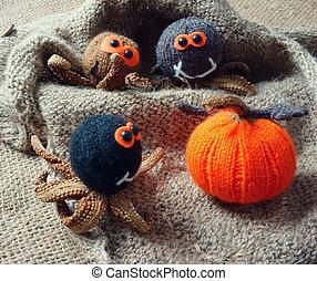 halloween, plano de fondo, hechaa mano, calabaza, araña, octubre