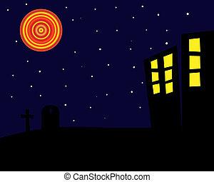 halloween, plano de fondo, noche