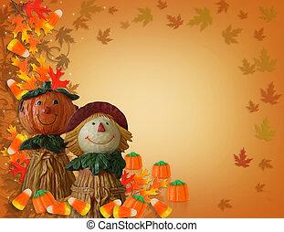 halloween, pompoen, grens, vogelverschrikker