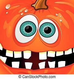 halloween, pompoen, met, kapot, teeth