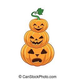 halloween, pompoen, stapel