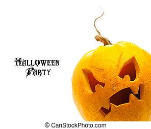 halloween, pompoen, vrijstaand, op wit, achtergrond