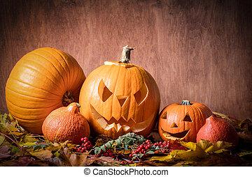 halloween, pompoennen, gekerfde, hefboom-o-lantaarn, in,...
