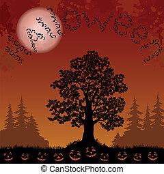 halloween, pompoennen, knuppels, bomen, landscape
