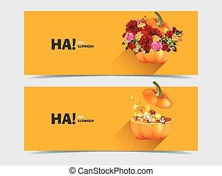 halloween, pompoennen, met, bloemen, en, de bladeren van de esdoorn