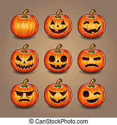 halloween, pompoennen, set., vector.