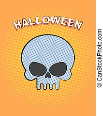 Halloween pop art. Skull on an orange background of points. Vector retro illustration for dreaded holiday.