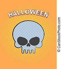 Halloween pop art. Skull on an orange background of points. Vector retro illustration for dreaded holiday.