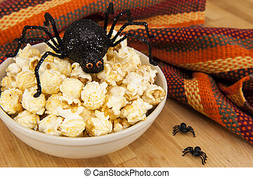 Halloween Popcorn Snack - Dish of popcorn with Halloween...