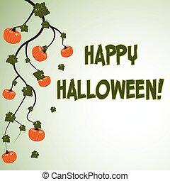 Halloween postcard with pumpkins