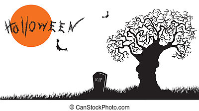 Halloween postcard with tree.