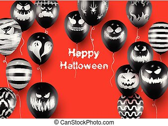 Halloween Poster and Banner Template with Black Balloons on Red background