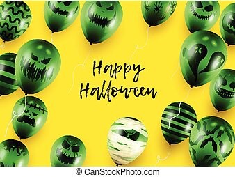 Halloween Poster and Banner Template with Green Balloons on Yellow background