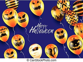 Halloween Poster and Banner Template with Orange Balloons on Purple background