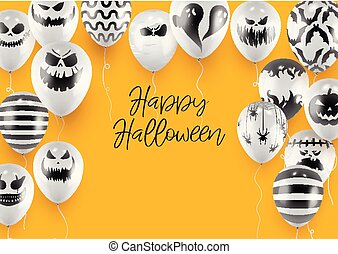Halloween Poster and Banner Template with White Balloons on Orange background