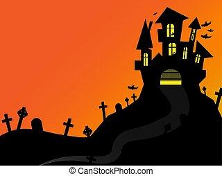 Halloween poster, background. Castle.