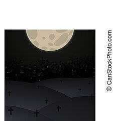 Halloween poster background. Foggy landscape of graveyard with scary bats eyes in dark forest and b