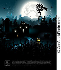 Halloween poster - Haunted farmhouse in the woods -...