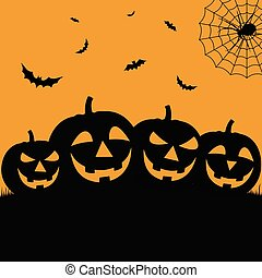 Halloween poster in flat design with grinning pumpkins